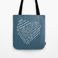 destiel Tote Bags featuring Quotes of the Heart - Destiel (White) by fairy911911