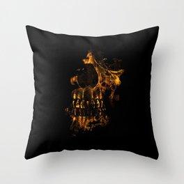 Skull Burning Digital Collage Illustration Throw Pillow