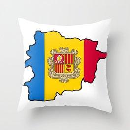 Andorra Map with Andorran Flag Throw Pillow