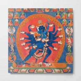 Hevajra Yidam Vajrayana Buddhism Blue Metal Print