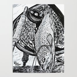 """""""Catch & Release"""" Trout Fly Fishing Art Poster"""