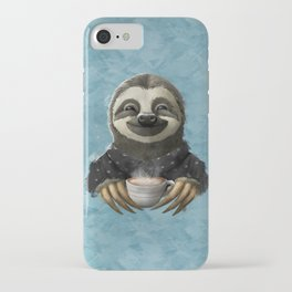 Sloth smilling with coffee latte iPhone Case