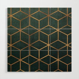 Dark Teal and Gold - Geometric Textured Gradient Cube Design Wood Wall Art