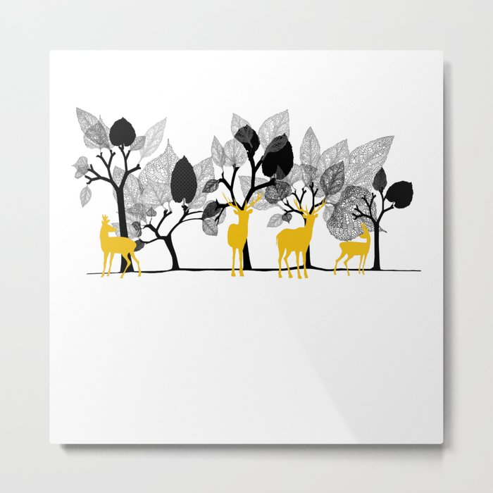 Trees & Deers Metal Print