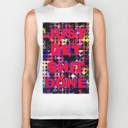 just get it done quote with circle pattern painting abstract background in red pink blue yellow Biker Tank