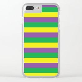 Mardi Gras Stripes Clear iPhone Case