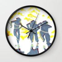 heroes Wall Clocks featuring Heroes by SquidInkDesigns