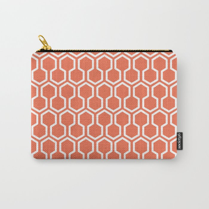 Honey Comb Pattern Coral Carry-All Pouch