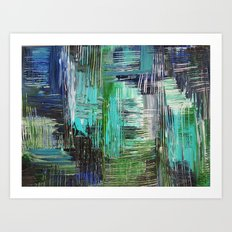 AQUATIC COMMOTION in Color - Textural Ocean Beach Nautical Abstract Acrylic Painting Wow Winter Xmas Art Print