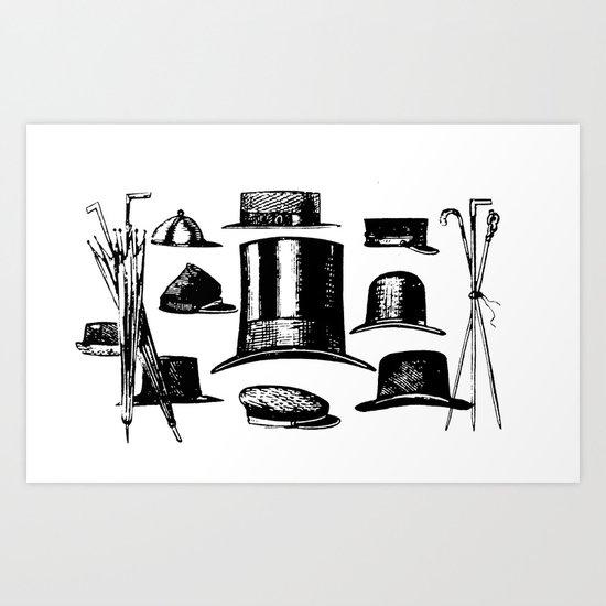 Vintage Hats Art Print