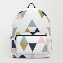 Festive, Abstract, Geometric Art, Pink, Navy Blue, Aqua, Gold Backpack