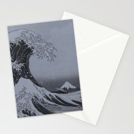 Silver Japanese Great Wave off Kanagawa by Hokusai Stationery Cards