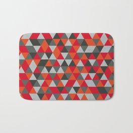 Hot Red and Grey / Gray -  Geometric Triangle Pattern Bath Mat