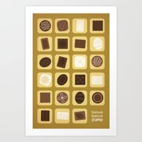 forrest gump Art Prints featuring Forrest Gump by Logophilia Design