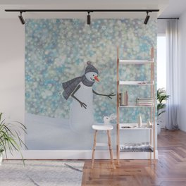 snowman and white rabbit Wall Mural
