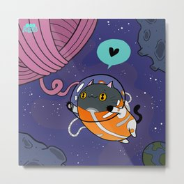Space Cat Valentine Metal Print