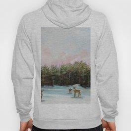 Pine View Deer Landscape Painting Art Hoody