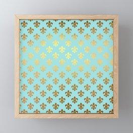 Royal gold ornaments on aqua turquoise background Framed Mini Art Print