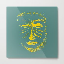 Warrior mask - yellow and dark green Metal Print
