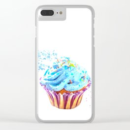 Cupcake watercolor illustration Clear iPhone Case