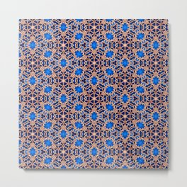 Blue and Gold Beadwork Inspired Print Metal Print