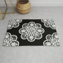 Floral Doily Pattern | Lace Crochet Doilies | Needle Crafts | Black and White | Rug