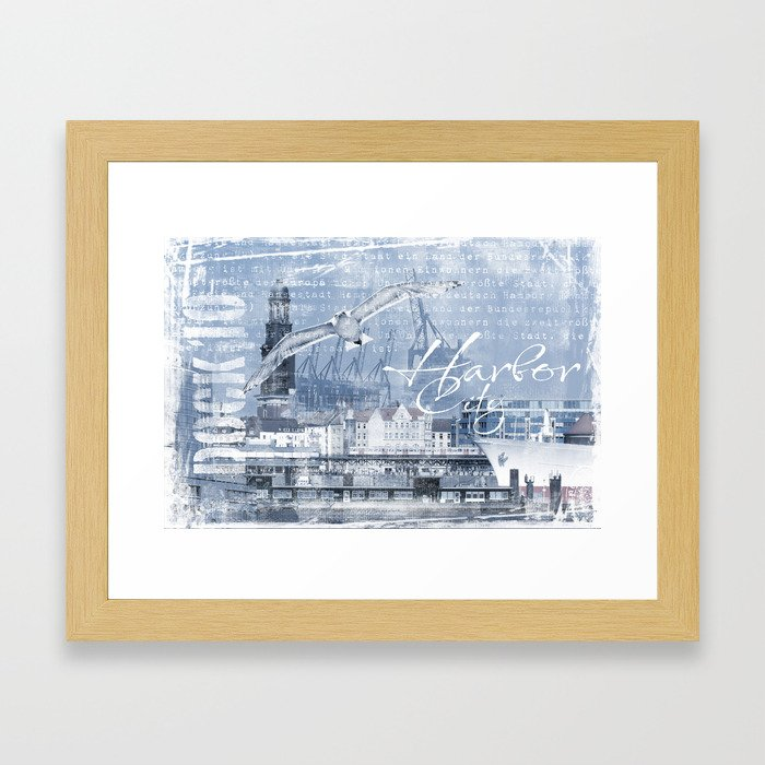 Harbor City Hamburg Germany mixed media Art Framed Art Print