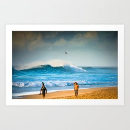 Pipeline waves rocking North Shore Oahu - Hawaii  Art Print
