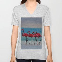The 4 Flamingoes Unisex V-Neck