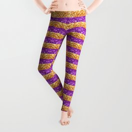 Purple and Gold Glitter Stripes Baton Rouge New Orleans Nola Louisiana Los Angeles California Leggings