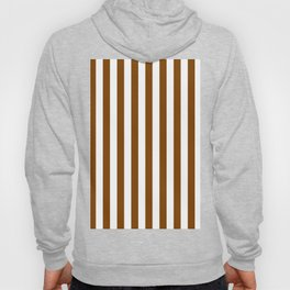 Narrow Vertical Stripes - White and Chocolate Brown Hoody