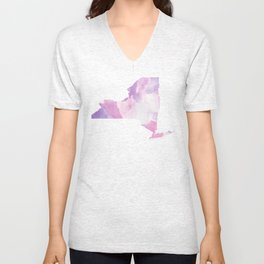 Watercolor State Map - New York NY purples Unisex V-Neck