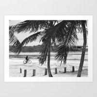 Island Man on Bike Art Print