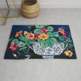 Nasturtium Bouquet in Chinoiserie Bowl on Dark Blue Floral Still Life Painting Rug