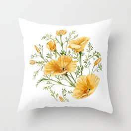 California Poppies - Watercolor Painting Throw Pillow