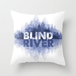 Blind River Trees (blue) Throw Pillow