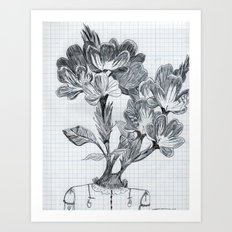 cabeza de flores Art Print