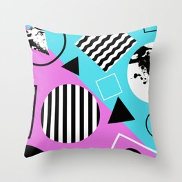Stripes And Splats 1 - Wacky, Random, Abstract, Black And White Stripes, Blue and pink Artwork Throw Pillow