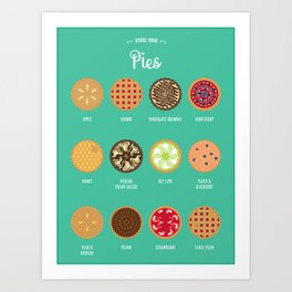 Know Your... Pies (12 Pies version) Art Print