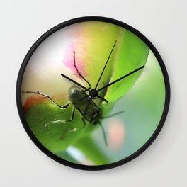 Peony bud and green beetle Wall Clock