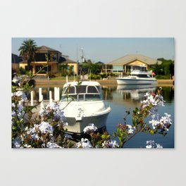 Moor your yacht in a colourful Backyard Canvas Print