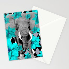 ELEPHANT and HARLEQUIN BLUE AND GRAY Stationery Cards