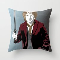 the hobbit Throw Pillows featuring Hobbit by Digital Sketch