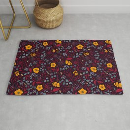 Mustard Yellow, Burgundy & Blue Floral Pattern Rug
