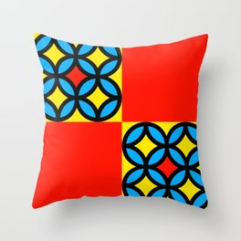 Colored Circles Red Squares Throw Pillow