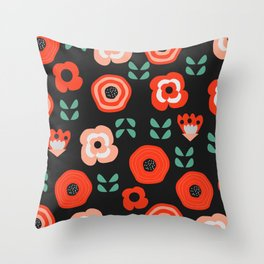 Midnight floral decor Throw Pillow