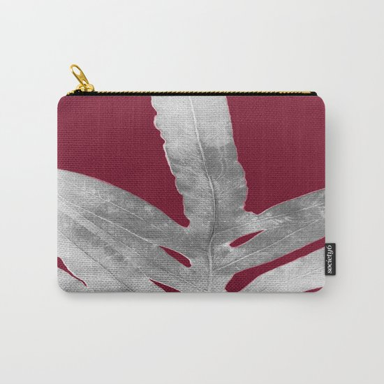 Green Fern on Burgundy Wine Carry-All Pouch
