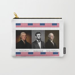 Three patriotic portraits of three great presidents :lincoln,washington and jefferson Carry-All Pouch