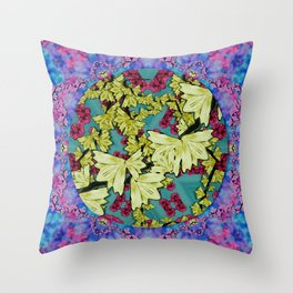 flowers and the cherry blossom tree is blooming so free Throw Pillow