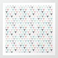 Geometric pastel triangle scandinavian style aztec print Art Print